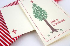 Merry Christmas Card x 1 Christmas Tree with Red Star by PaperIvy