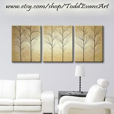 48 inches Original 3 Piece Set Wall art Large Canvas, Brown, light brown Trees set of 3 art tree Painting Wall Decor Triptych by ToddEvansArt, $90.00