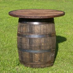 whiskey/wine barrel cocktail tables for the patio   Whiskey Barrel Table with Top