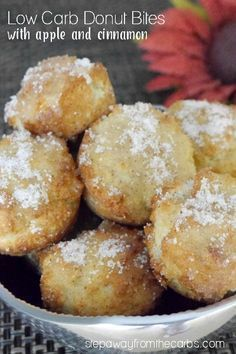 These low carb donut bites are an ideal treat for the fall; you'll love the apple and cinnamon flavors! Review of the book Everyday Ketogenic Kitchen.