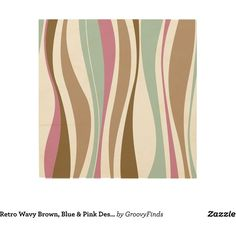 Retro Wavy Brown, Blue Pink Design Wood Wall Art ($45) ❤ liked on Polyvore featuring home, home decor, wall art, wood wall art, pink flamingo wall art, blue home decor, blue home accessories and wooden wall art