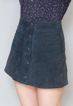 Vintage 1970's Navy Blue Suede Button Front Mini Skirt