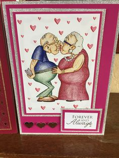 Greeting Card (100) - A5 Valentines Day Card (2016). Topper from Hunkydory 'The Little Book of Golden Oldies' on card from stash