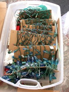 christmas decor storage see more next year you will not have to untangle all those lights if you use some sturdy