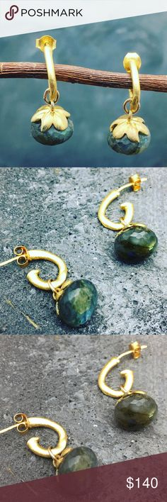 Stunning Labradorite earrings Faceted onion cut Labradorite with a 24k gold plated flower cup hanging on hand curved,rustic, organic finish coated with 24k gold. These will work with any style, casual or dressy. Matana Jewelry Earrings