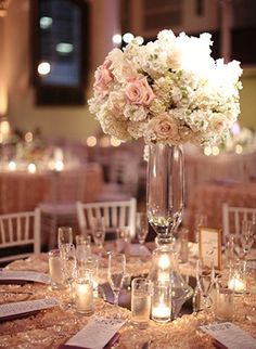 Centerpieces | roses Hydrangea Centerpieces | Wed Society RRB: Tall centerpieces, but with peonies with crystal garlands hanging