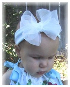 Boutique Chiffon Simply White Baby Bow Headband