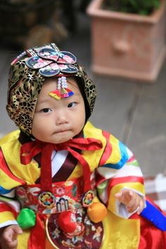 Hanbok, Korean Traditional Dress - what a darling baby!!