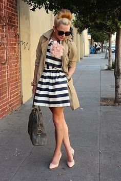 The jacket completes the look. The dress goes perfectly with this outfit. She pulled it off.