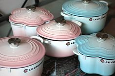 Pink and turquoise Le Creuset! Yummmmm