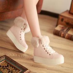 $18.49Winter Round Toe Flat Mid Heel Lace Up Ankle Feathers Pink Cavalier Boots