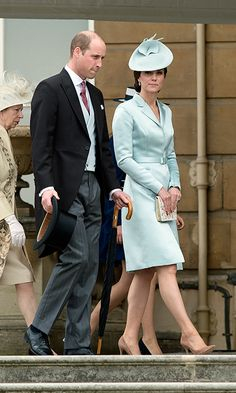 The Duchess of Cambridge was the epitome of elegance as she stepped out with her husband, Prince William, to attend the Queen's first garden party of the year at Buckingham Palace on Tuesday (May 16).
