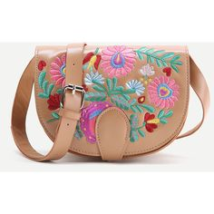 Khaki Flower Embroidery PU Saddle Bag (79 SAR) ❤ liked on Polyvore featuring bags, handbags, shoulder bags, saddle bags, beige shoulder bag, polyurethane handbags, beige purse and beige handbags