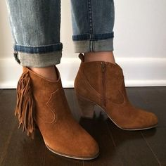 """Steve madden fringe bootie Fun and perfect for any season. Could be worn with jeans, shorts, or a sun dress. Brand new. 3"""" heel. Suede. Chestnut color. Style: Ohio. Steve Madden Shoes Ankle Boots & Booties"""