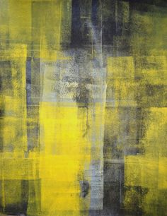 Acrylic Abstract Art Painting Black, Grey, Yellow and White - Modern, Contemporary, Original, Squares 11 x 14