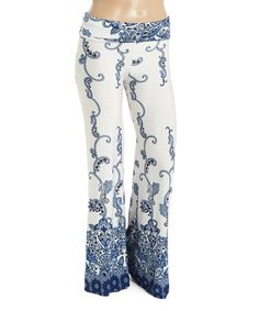 Another great find on #zulily! Navy & White Paisley Palazzo Pants - Plus #zulilyfinds