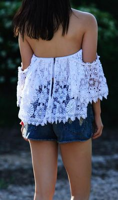 #spring #outfits  White Lace Off The Shoulder Top + Denim Short