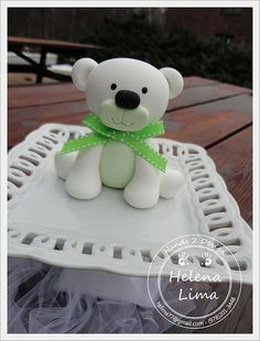White Bear Green Bow by Hands 2 Design by Helena Lima, via Flickr  #cake topper #HelenaLima #Hands2design # cold porcelain