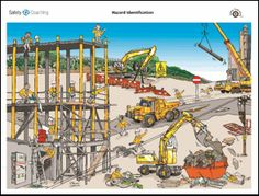 spot the hazard construction site Safety Signs And Symbols, Safety Cartoon, Construction Safety, Safety Posters, Workplace Safety, Safety First, Safety And Security, Health And Safety, Industrial