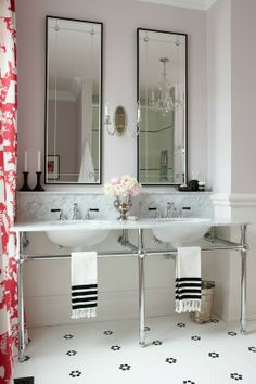 feminine bathroom, not too fussy.  HGTV Canada  design by Sarah Richardson & Tommy Smythe