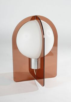 Anonymous; Plexiglass, Glass and Chromed Metal Table Lamp by Philips, 1970s.