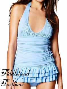 9ffffc1c45 Juicy Couture ~ Miss Softee Chiffon ~ Halter Ruffle Swimdress Swimsuit  Retro Shirred Bathing Suit with Skirt -I Want This In Black!
