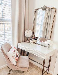 Audrey Mini Desk, Parchment - Decor Diy Home Decoration Inspiration, Room Inspiration, Decor Ideas, Home Bedroom, Bedroom Decor, Desk In Bedroom, West Elm Bedroom, Bedroom Ideas, One Bedroom Apartment