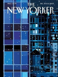 The New Yorker cover, December 2007 by Kim deMarco The New Yorker, New Yorker Covers, Magazine Art, Magazine Design, Magazine Covers, Christmas Cover, Magazine Illustration, Graphic Illustration, New Yorker Cartoons