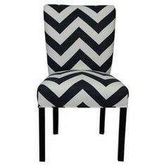 """Wood-framed Parsons side chair with a black and white chevron motif. Product: Set of 2 chairsConstruction Material: Wood and upholstery fabricColor: Black and white   Features: Beautifully crafted silhouette    Dimensions: 39"""" H x 26"""" W x 21"""" D   Cleaning and Care: Clean with a soft cloth"""