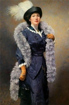 Elegant Lady with a Plumed Hat 1913 Painting - oil on canvas by Ludwig Deutsch Edwardian Fashion, Vintage Fashion, Gothic Fashion, Vintage Style, Historical Clothing, 1920 Clothing, 1914 Fashion, 20th Century Fashion, Gibson Girl