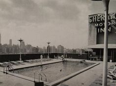 1962 NYC Sheraton Motor In Rooftop Pool New York City 42nd Street vintage 1960s hotel photo by Christian Montone, via Flickr