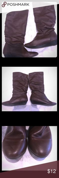 a.na. Chocolate Brown Boots Size 6 Slouchy below the knee dark brown boots. Worn 2-3 times. Minimal scuffs. The top has a bit of stretch so can slouch lower. a.n.a Shoes Ankle Boots & Booties