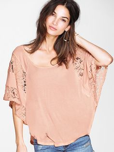 Lace-inset Batwing Top - Angel Tees - Victoria's Secret