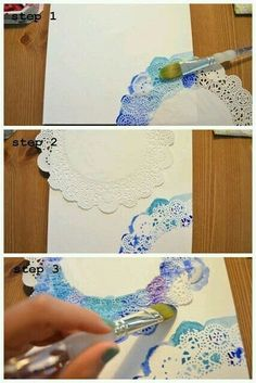 Ideas Diy Para Personalizar Tus Libretas Pintar En Tela - Ideas Diy Para Personalizar Tus Libretas The Elephant Of Surprise Art For Non Artists Easy Doily Watercolor This Would Be Sooo Cute For A Journal Page Or Wrapping Paper And You Could Probably Diy And Crafts, Crafts For Kids, Arts And Crafts, Paper Crafts, Simple Crafts, Diy Paper, Art Techniques, Art Tutorials, Diy Art