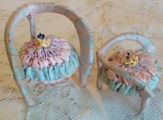 Circa 1920s Two Most Unusual Whimsical Miniature Powder Puff Boudoir Chairs Adorned With Smocked Pastel Ribbon and A Ribbonwork Rosette