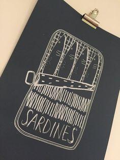 A3 Sardine Tin Hand Screen Printed Design