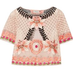 Temperley London Belle cropped embroidered tulle top ($755) ❤ liked on Polyvore featuring tops, crop top, blusas, shirts, temperley london, pink, pink floral top, pink crop top, floral shirt and pink shirt