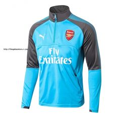 2017-18 Arsenal Blue Thailand Soccer Tracksuit Top