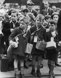 Children being evacuated out of London during the outbreak of World War II, 1939.  William Vandivert