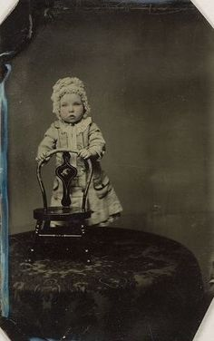 c. 1856-1910, [portrait of a child holding onto to a tiny chair] via the Harvard University, Harvard Art Museums/Fogg Museum, Department of ...