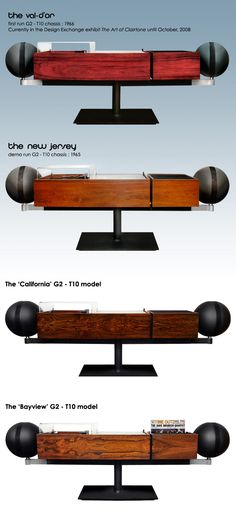 Clairtone G2 Some of the various custom finishes that were created over the years. This is my favorite stereo of all time (for obvious reasons). One day finances & fate will align & I will own one. Until then, I can still lust...