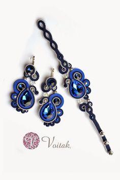 Soutache Jewelry. Artystyczna Biżuteria Autorska Katarzyna Wojtak: #0069 Kolczyki i #0064 Bransoletka Le bleu d'Anna.