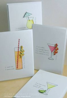 Drink recipes are even more fun when you can incorporate them into a set of note cards.  A free PDF download is available on the CSS blog...  Visit Blog for more: http://www.clearandsimplestampsonline.com/2012/08/c4rir-1/