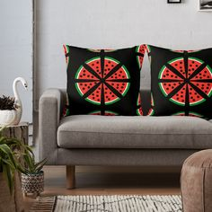 """Watermelon Slices"" Throw Pillow by Pultzar 
