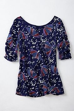 Here & There Tee, Blue Motif | Anthropologie.eu