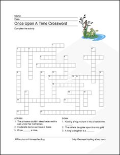 Fairy Tales Wordsearch, Crossword Puzzle, and More: Fairy Tales Crossword Puzzle