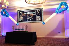 Lacrosse Balloon Sculptures Lacrosse Sticks Balloon Sculptures with Custom Score Board Backdrop Event Themes, Event Decor, Party Themes, Theme Ideas, Party Ideas, Bar Mitzvah Themes, Bat Mitzvah, Lacrosse Sticks, Vsco