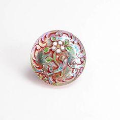 BUT0075 22mm Daisy Flower Czech Glass Button