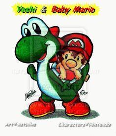 Yoshi and Baby Mario by natsilva.deviantart.com on @deviantART