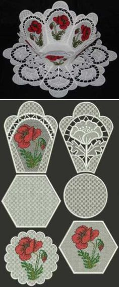Advanced Embroidery Designs - Poppy Meadow Bowl and Doily Set